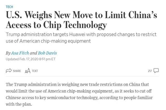 突发,美国将试图切断对华为的半导体供应