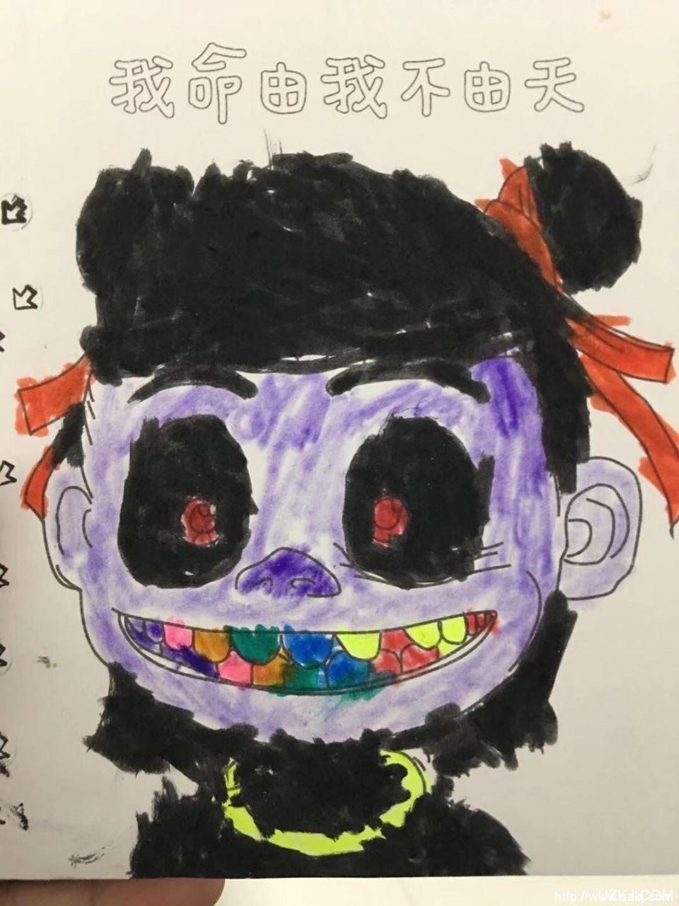 四岁儿子画的哪吒